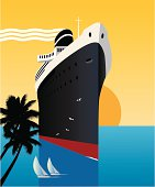 Cruise ship in the tropics with a sunset background. Style is reminiscent of Art Deco travel posters. Art on easily edited layers & can be extended out on all sides. Don't want some bits? - just click 'em off.