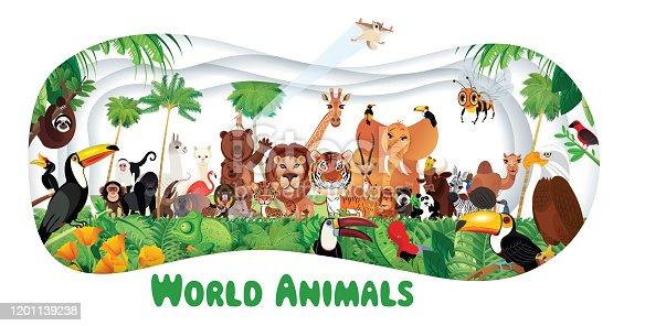 Vector Tropikal Rainforest and World animals