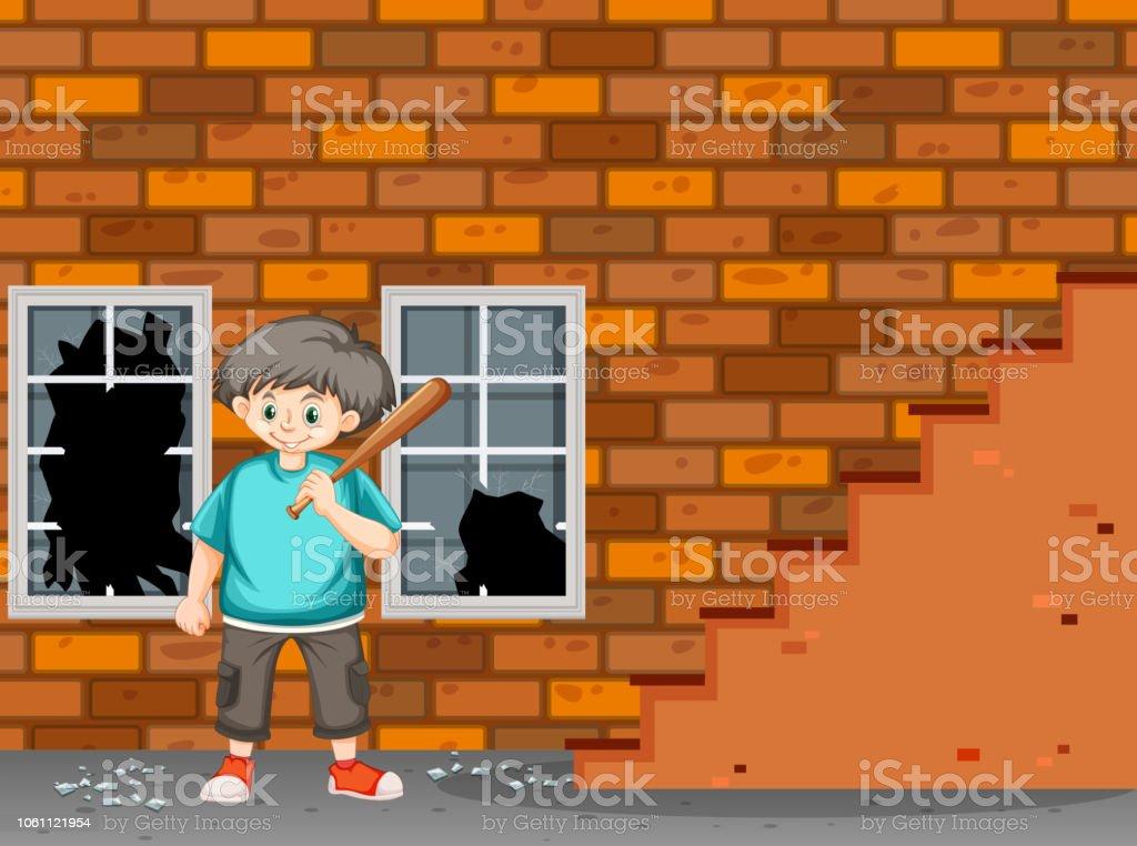 A trouble boy break the window vector art illustration