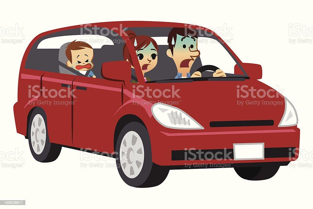 Trouble driving vector art illustration