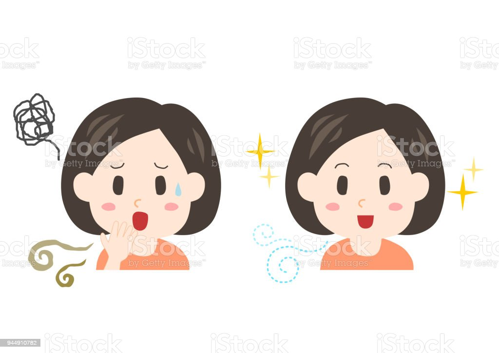 Trouble of bad breath and body odor(middle-aged woman) vector art illustration