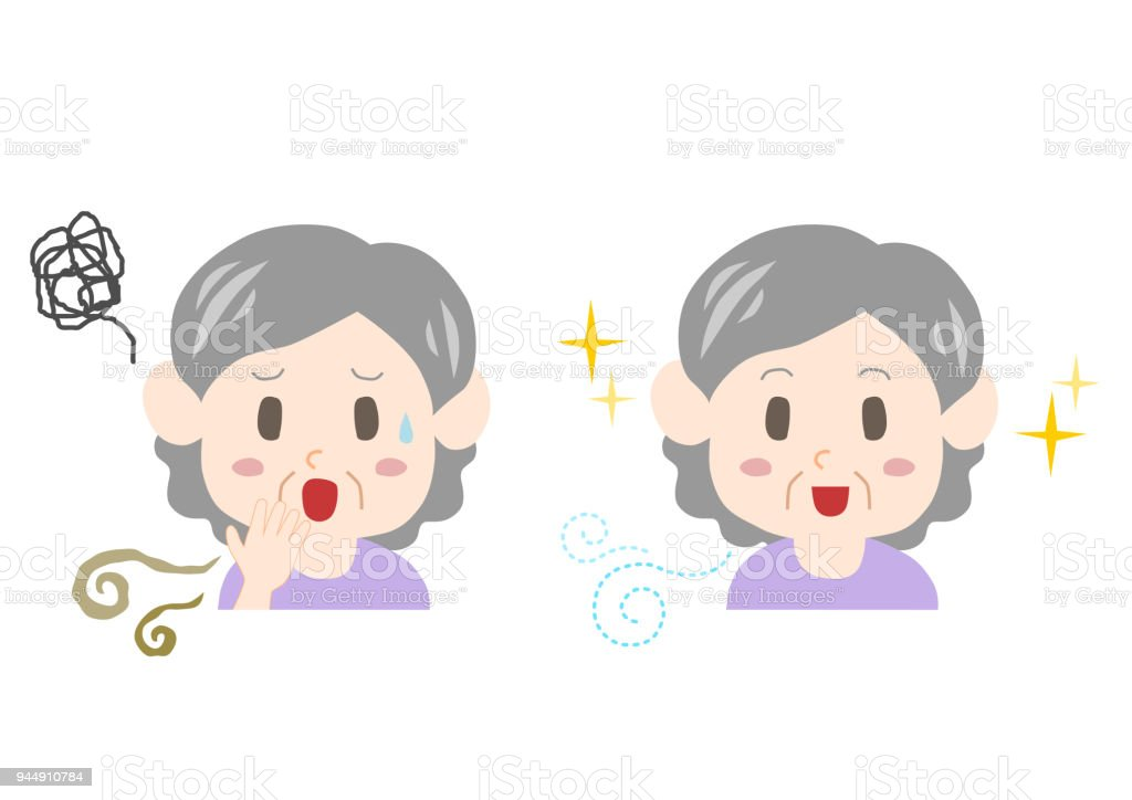 Trouble of bad breath and body odor(elderly woman) vector art illustration
