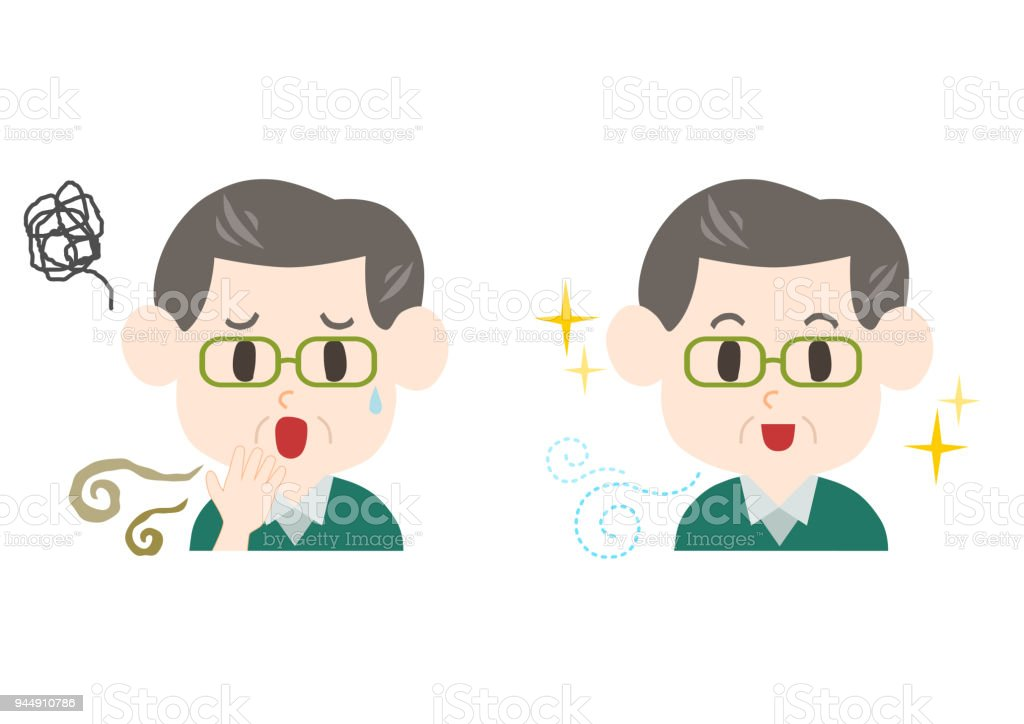 Trouble of bad breath and body odor(middle-aged man) vector art illustration