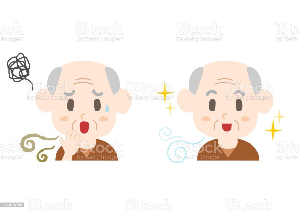 Trouble of bad breath and body odor(elderly man) vector art illustration