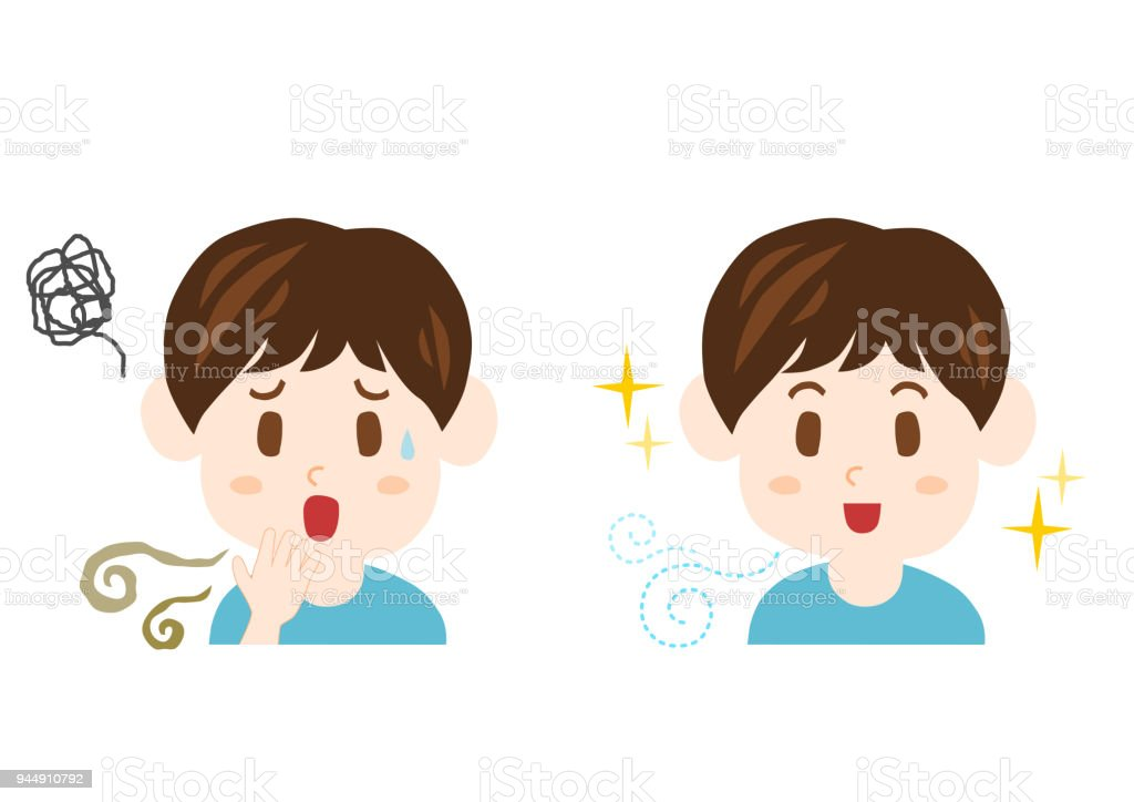 Trouble of bad breath and body odor(man) vector art illustration