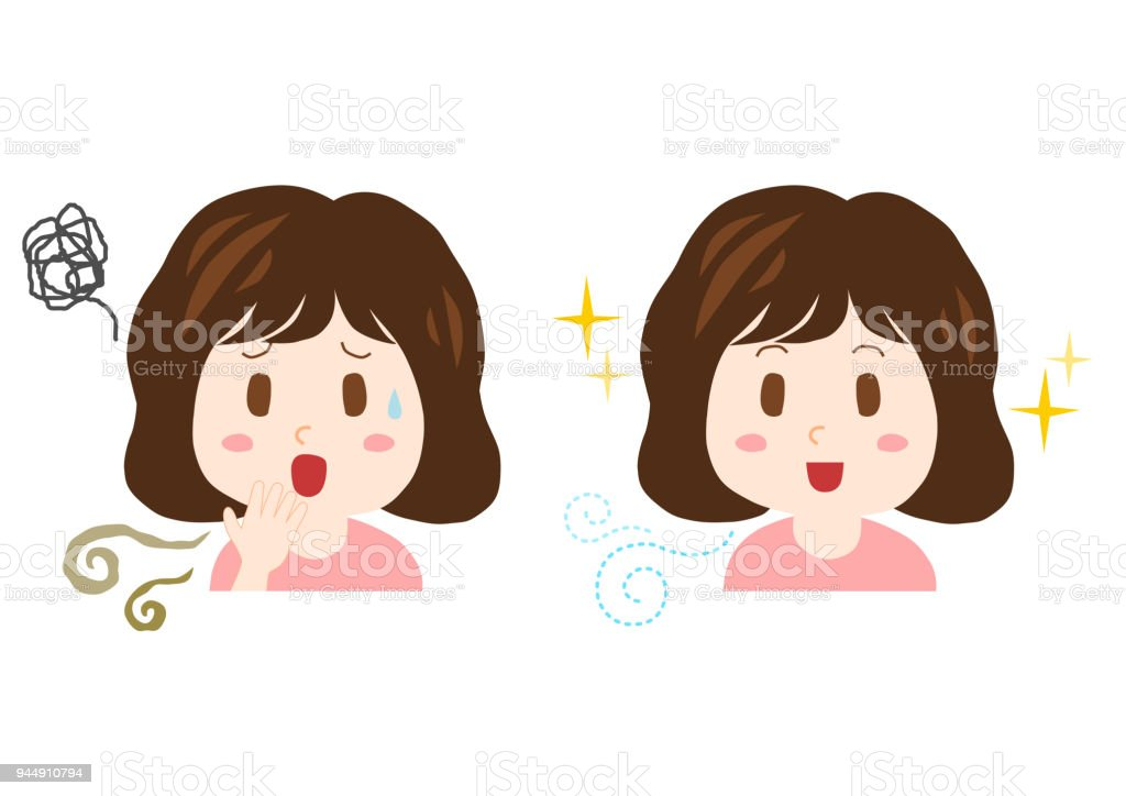 Trouble of bad breath and body odor(woman) vector art illustration