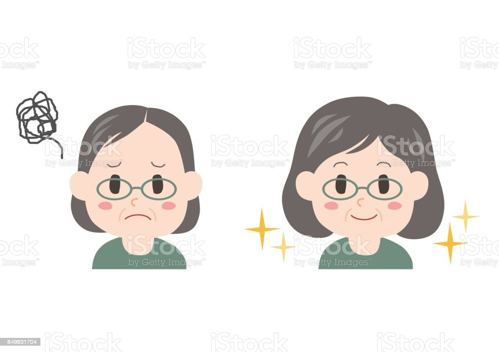 Trouble of thinning hair(middle-aged) vector art illustration