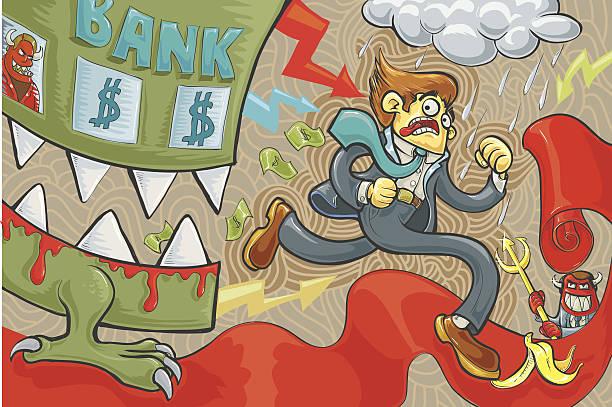 trouble - evil money stock illustrations, clip art, cartoons, & icons