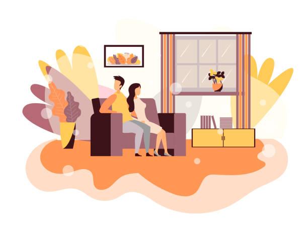 stockillustraties, clipart, cartoons en iconen met problemen in paar vector platte design cartoon - couple fighting home