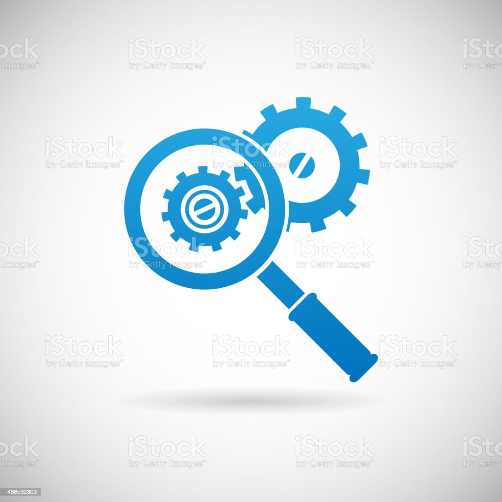 Troubleshooting Symbol Magnifying Glass and Gears Icon Design Template Vector royalty-free troubleshooting symbol magnifying glass and gears icon design template vector stock vector art & more images of analyzing