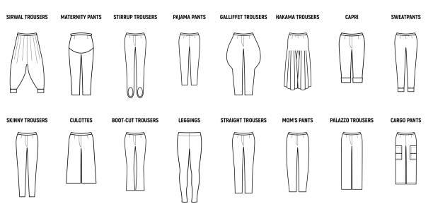 illustrazioni stock, clip art, cartoni animati e icone di tendenza di trousers for woman set. - capri