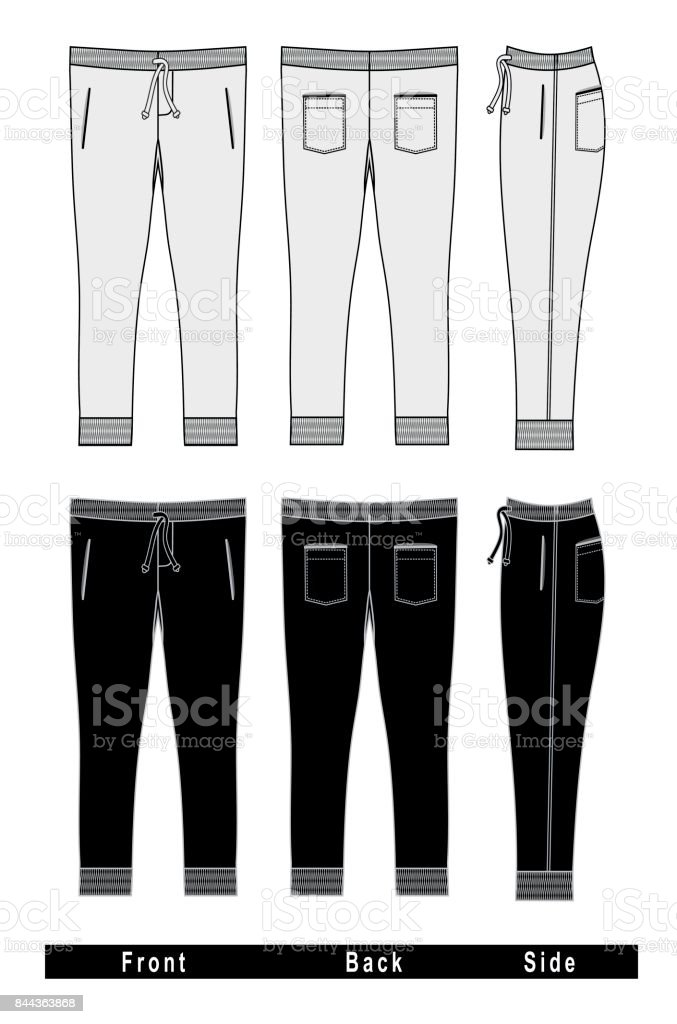 trousers Templates Front Back Side vector art illustration