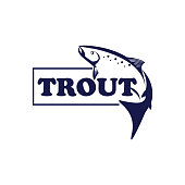 vector of trout fish logo or design element.