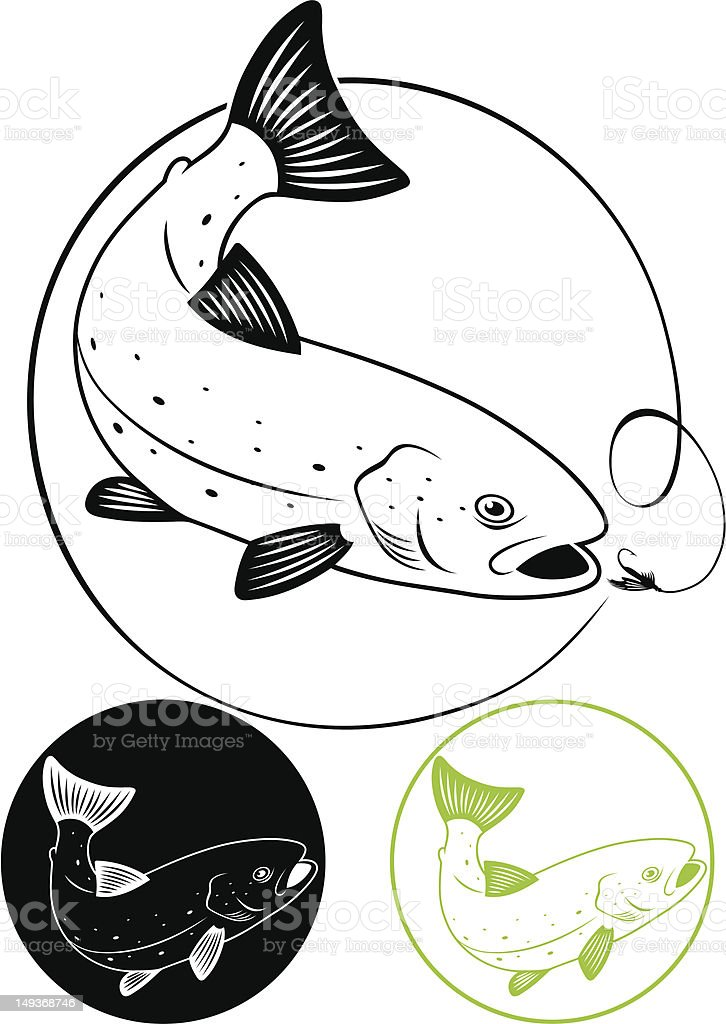 trout fish vector art illustration