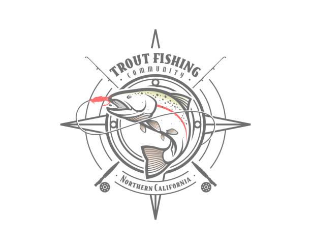 illustrazioni stock, clip art, cartoni animati e icone di tendenza di trout fishing emblem - trout