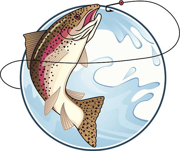 illustrazioni stock, clip art, cartoni animati e icone di tendenza di pesca di trote - trout