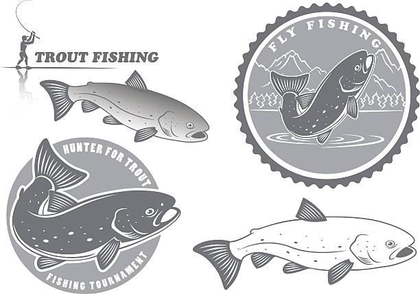 trout fishing - redfish stock illustrations, clip art, cartoons, & icons