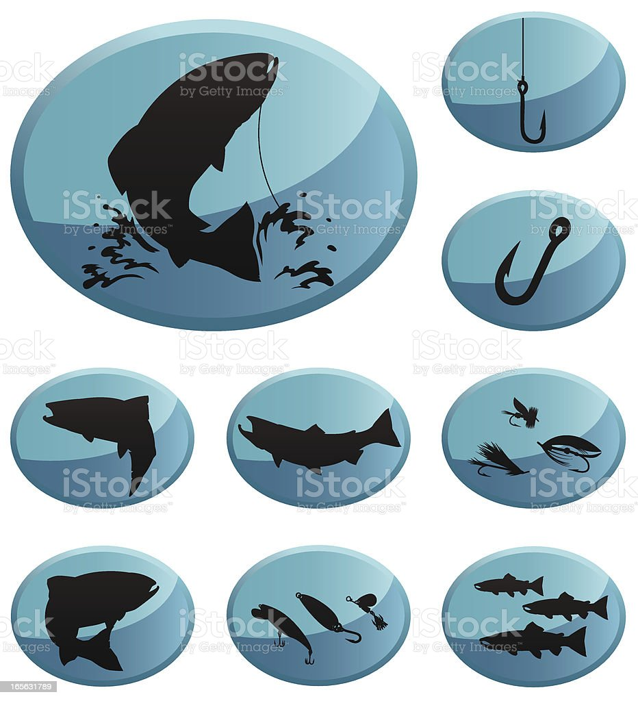Trout & Salmon Fishing Icons vector art illustration