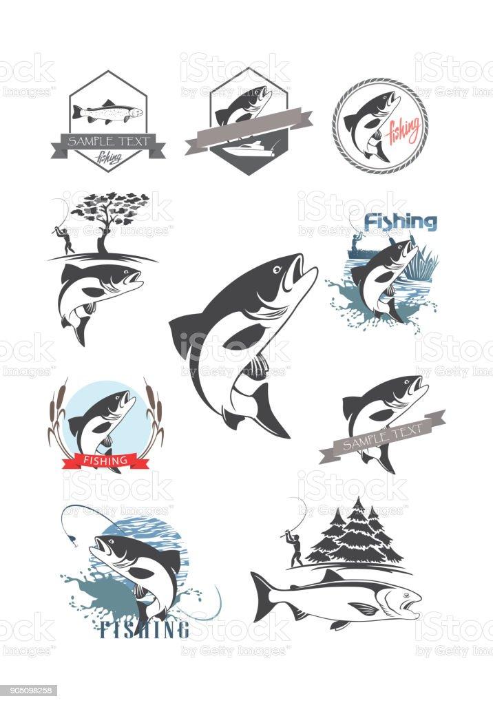 trout set vector art illustration