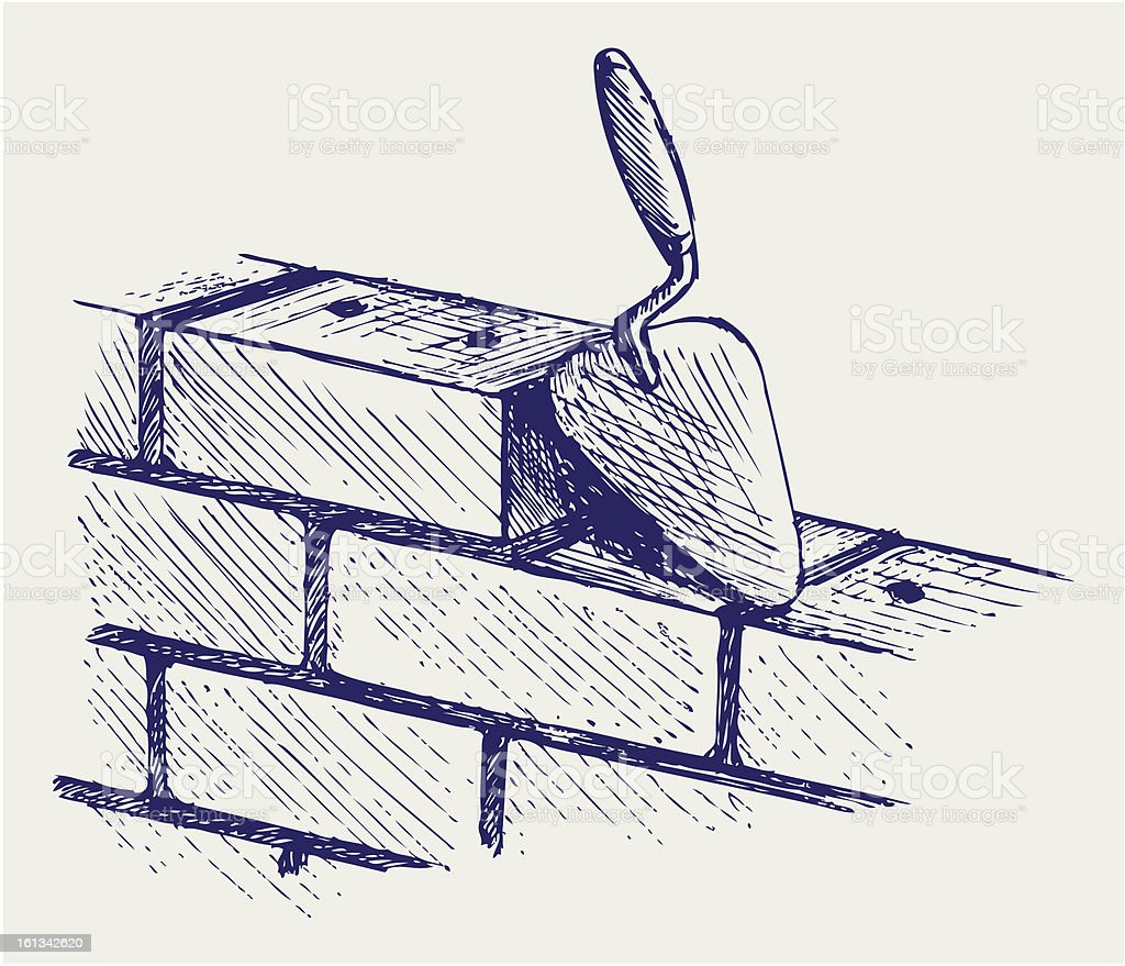 Trowel and bricks royalty-free stock vector art