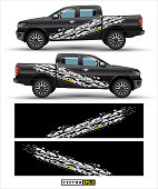 truck 4 wheel drive and car graphic vector. abstract lines with black background design for vehicle vinyl wrap