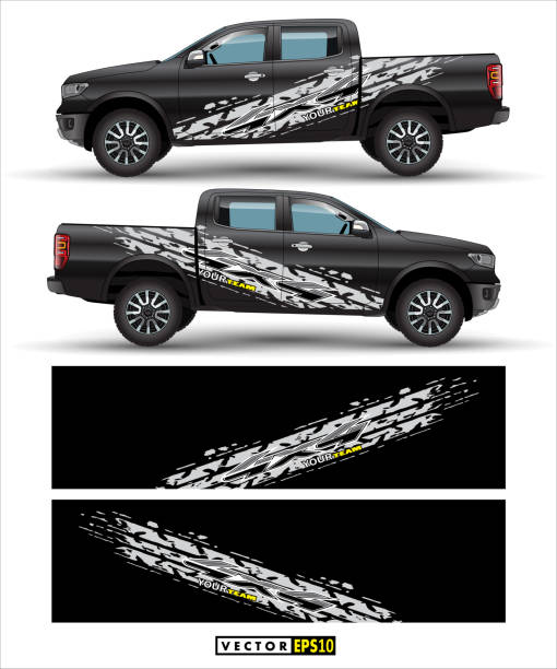 truck 4 wheel drive and car graphic vectortruck 4 wheel drive and car graphic vector. abstract lines with black background design for vehicle vinyl wrap. abstract lines with gray background design for vehicle vinyl wrap_n - papier do pakowania stock illustrations