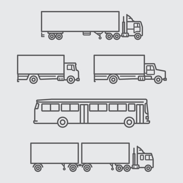 Truck and Bus of side view line icon vector art illustration