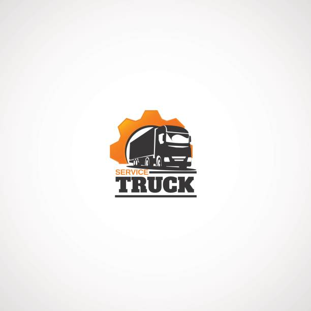 Truck and Gear. vector art illustration