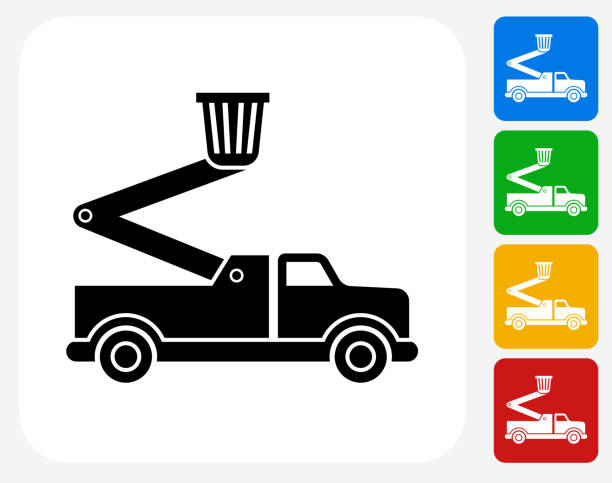 bildbanksillustrationer, clip art samt tecknat material och ikoner med truck and lift icon flat graphic design - skylift