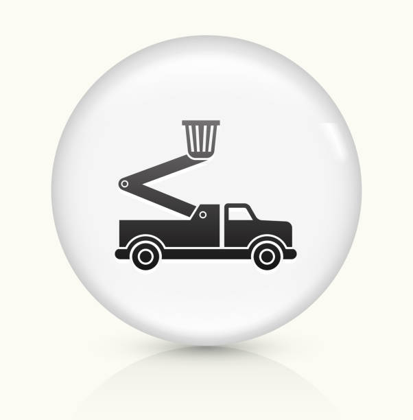 bildbanksillustrationer, clip art samt tecknat material och ikoner med truck and lift icon on white round vector button - skylift