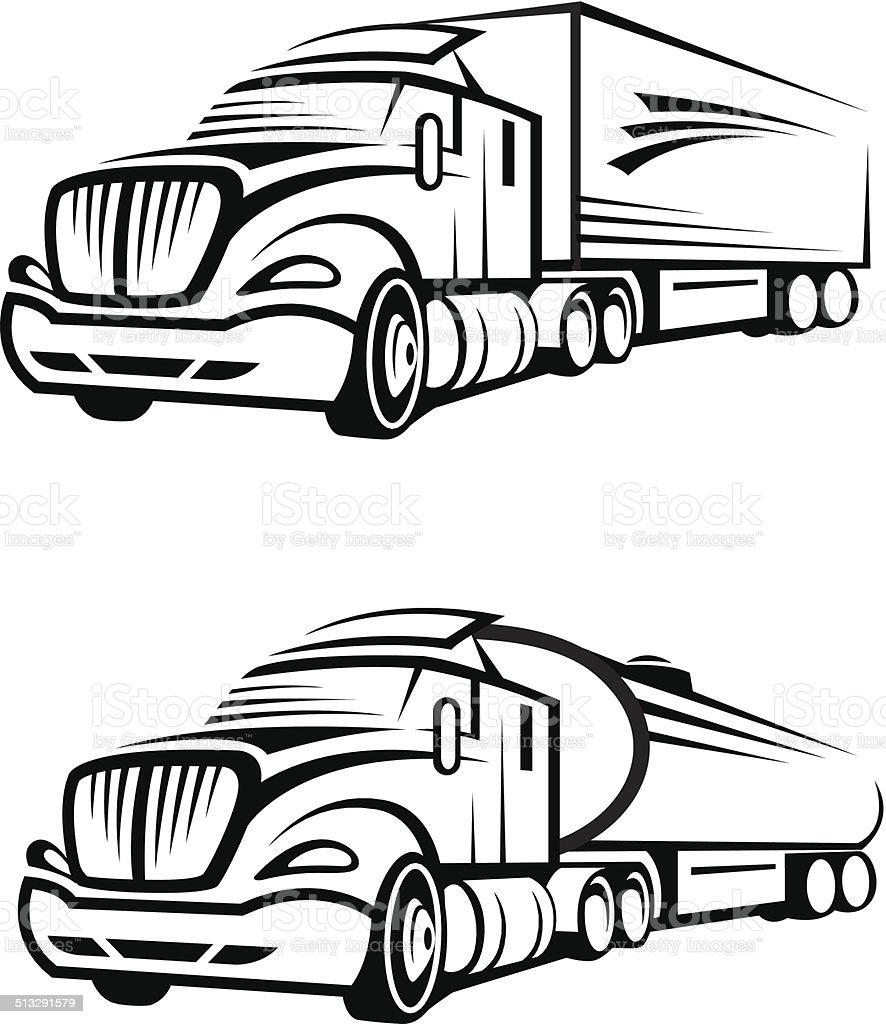 truck and tank truck vector art illustration