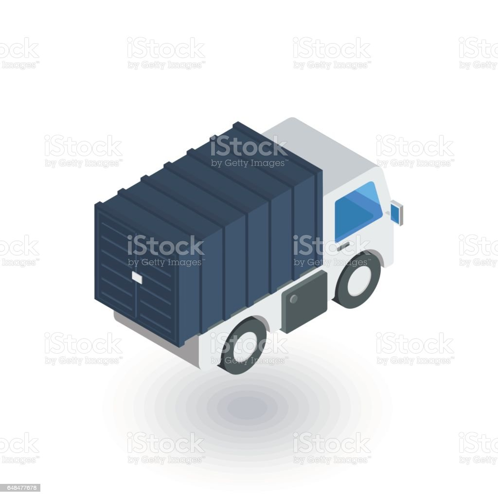 truck cab, van body, container isometric flat icon. 3d vector vector art illustration
