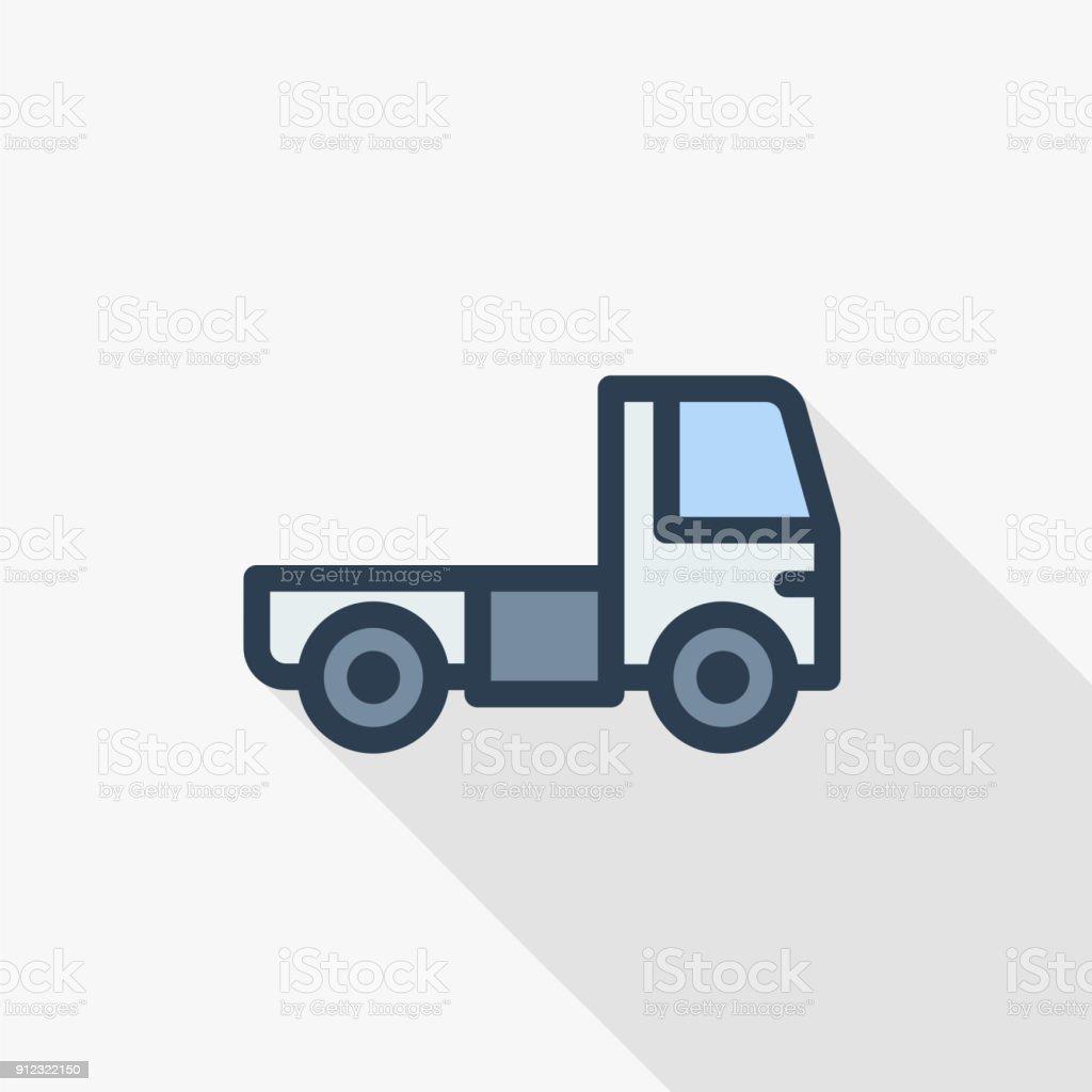 truck cab, van body thin line flat color icon. Linear vector symbol. Colorful long shadow design. vector art illustration