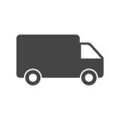 Truck, car vector illustration. Fast delivery service shipping icon. Simple flat pictogram for business, marketing or mobile app internet concept on white background.