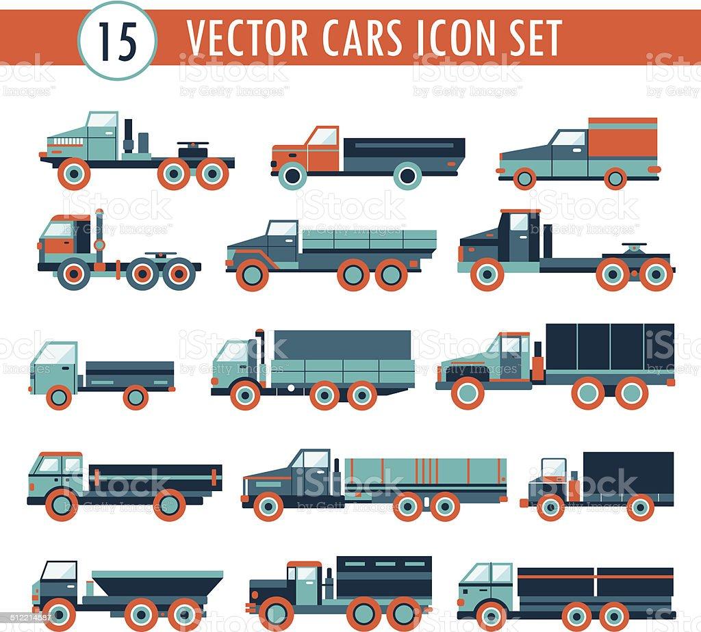 Truck cars icon set. Transportation. vector art illustration