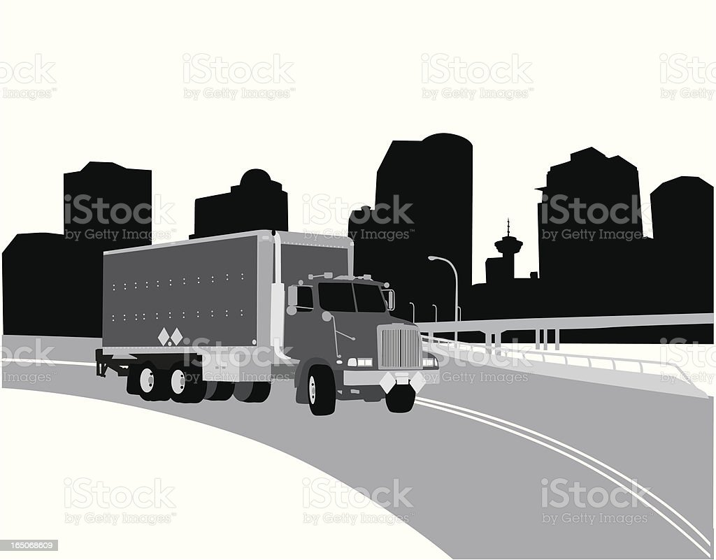 Truck City Vector Silhouette royalty-free stock vector art