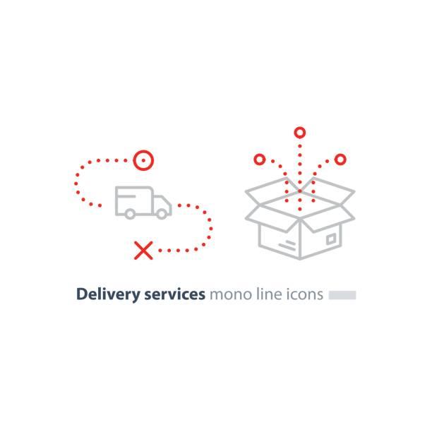 bildbanksillustrationer, clip art samt tecknat material och ikoner med lastbil leverans och låda paket, transporttjänster linje ikoner - flyttlådor