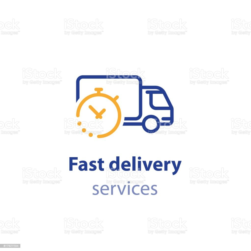 Truck delivery duration, fast relocation services, transportation company  elements, shipping order day, distribution line icon vector art illustration