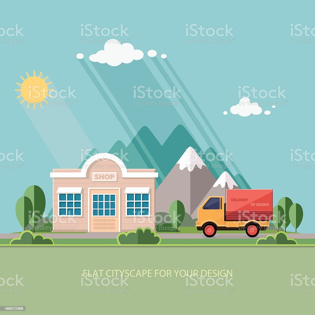 Truck delivery of goods. roadside shop on a background of mountains vector art illustration