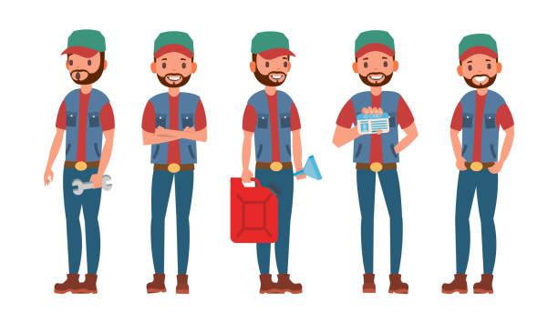 ilustraciones, imágenes clip art, dibujos animados e iconos de stock de vector de caracteres de conductor de camión. conductor clásico de hombre. aislados en blanco de dibujos animados ilustración - conductor de autobús