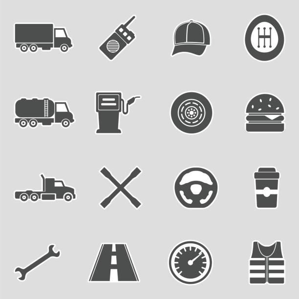 ilustraciones, imágenes clip art, dibujos animados e iconos de stock de iconos de conductor de camión. diseño de pegatinas. ilustración vectorial. - conductor de autobús