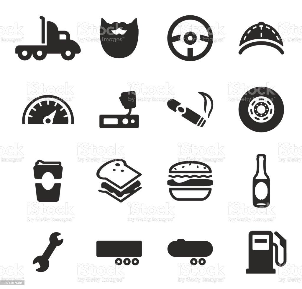 Truck Driver Icons vector art illustration