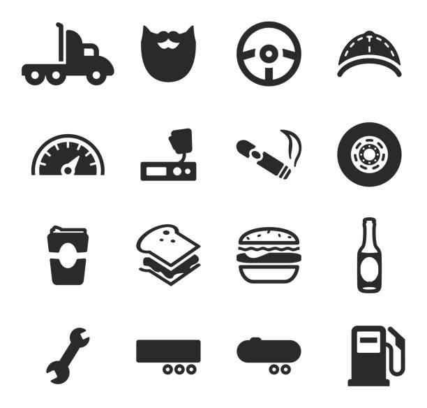 ilustraciones, imágenes clip art, dibujos animados e iconos de stock de iconos de camiones - conductor de autobús