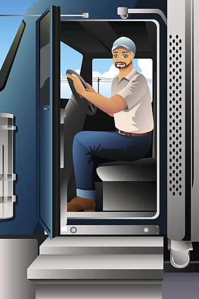 ilustraciones, imágenes clip art, dibujos animados e iconos de stock de truck driver inside of his truck - conductor de autobús