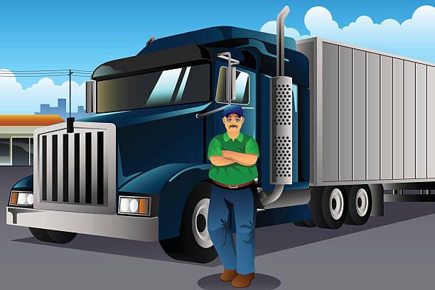 ilustraciones, imágenes clip art, dibujos animados e iconos de stock de truck driver standing in front of his truck - conductor de autobús