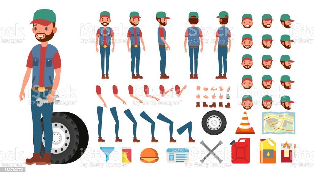 Vector de conductor de camión. Animado juego de creación de caracteres de camionero. Completa de longitud, frente, lado, vista trasera, accesorios, posturas, emociones, gestos de cara. Aislado plano dibujos animados ilustración - ilustración de arte vectorial