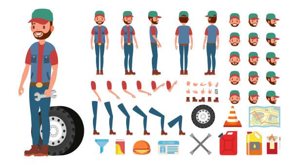 ilustraciones, imágenes clip art, dibujos animados e iconos de stock de vector de conductor de camión. animado juego de creación de caracteres de camionero. completa de longitud, frente, lado, vista trasera, accesorios, posturas, emociones, gestos de cara. aislado plano dibujos animados ilustración - conductor de autobús