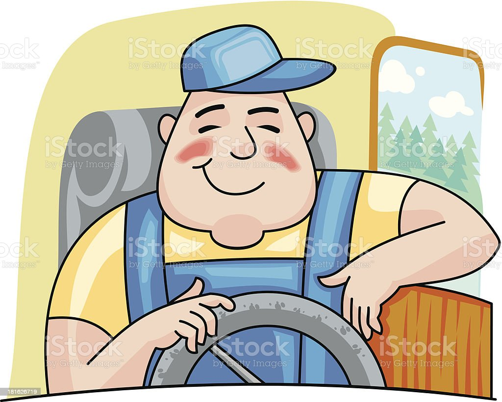 royalty free truck driver driving clip art, vector images