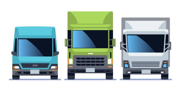 Truck front view set. Urban city vehicle model cars for delivery. Road traffic driving flat vector illustration Truck front view set. Urban city vehicle model cars for commercial delivery service. Road traffic driving flat vector illustration front view stock illustrations