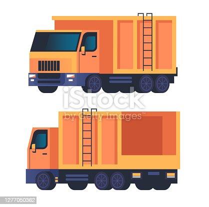 Truck garbage car machine isolated set. Vector flat graphic design cartoon